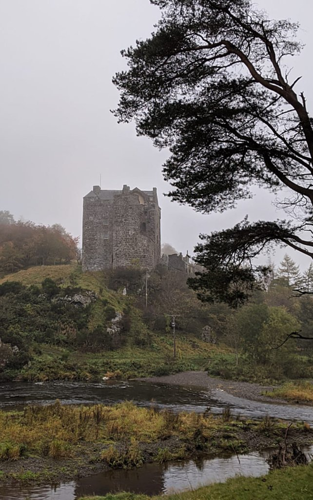 Neidpath Castle, Scottish Borders, from the River Tweed